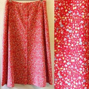 Christopher & Banks Red Floral Print Midi Skirt